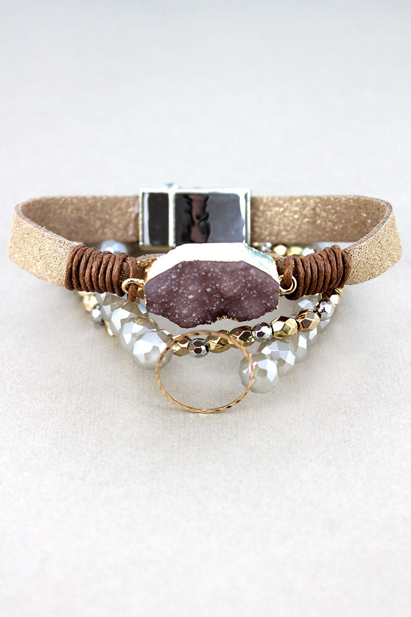 Beige Druzy and Goldtone Ring Mixed Bracelet Set