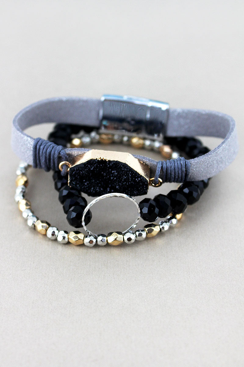 Black Druzy and Silvertone Ring Mixed Bracelet Set