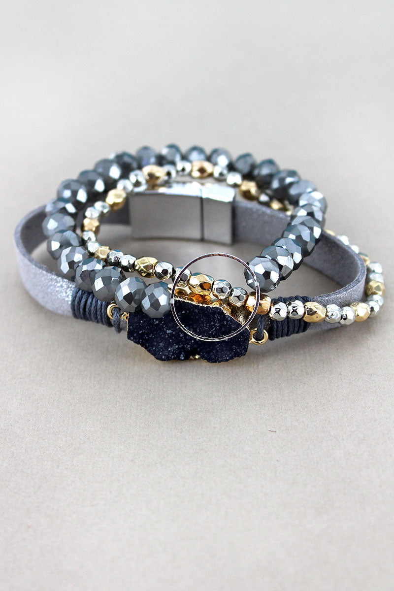 Gray Druzy and Silvertone Ring Mixed Bracelet Set