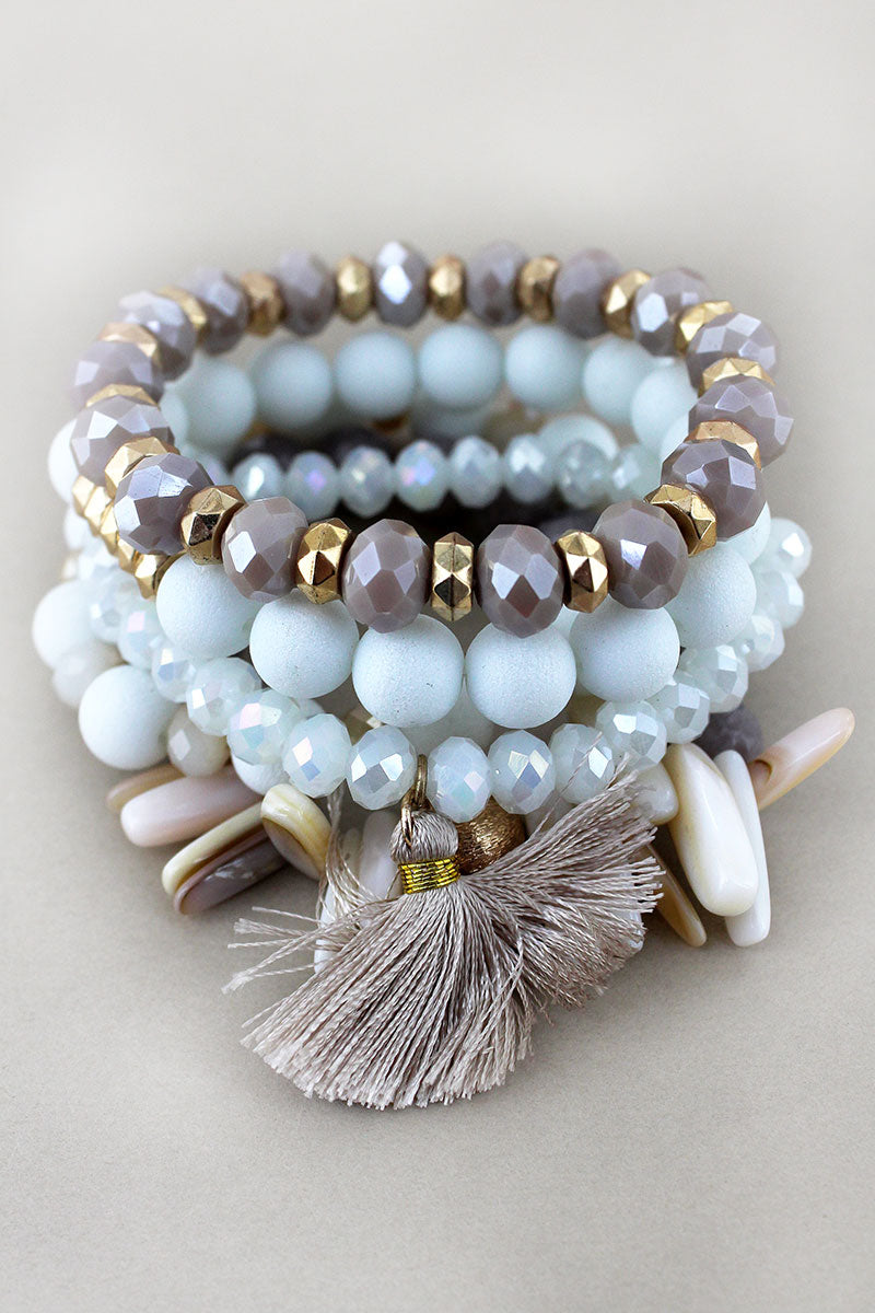Natural and Goldtone Mixed Bead Tassel Charm Bracelet Set