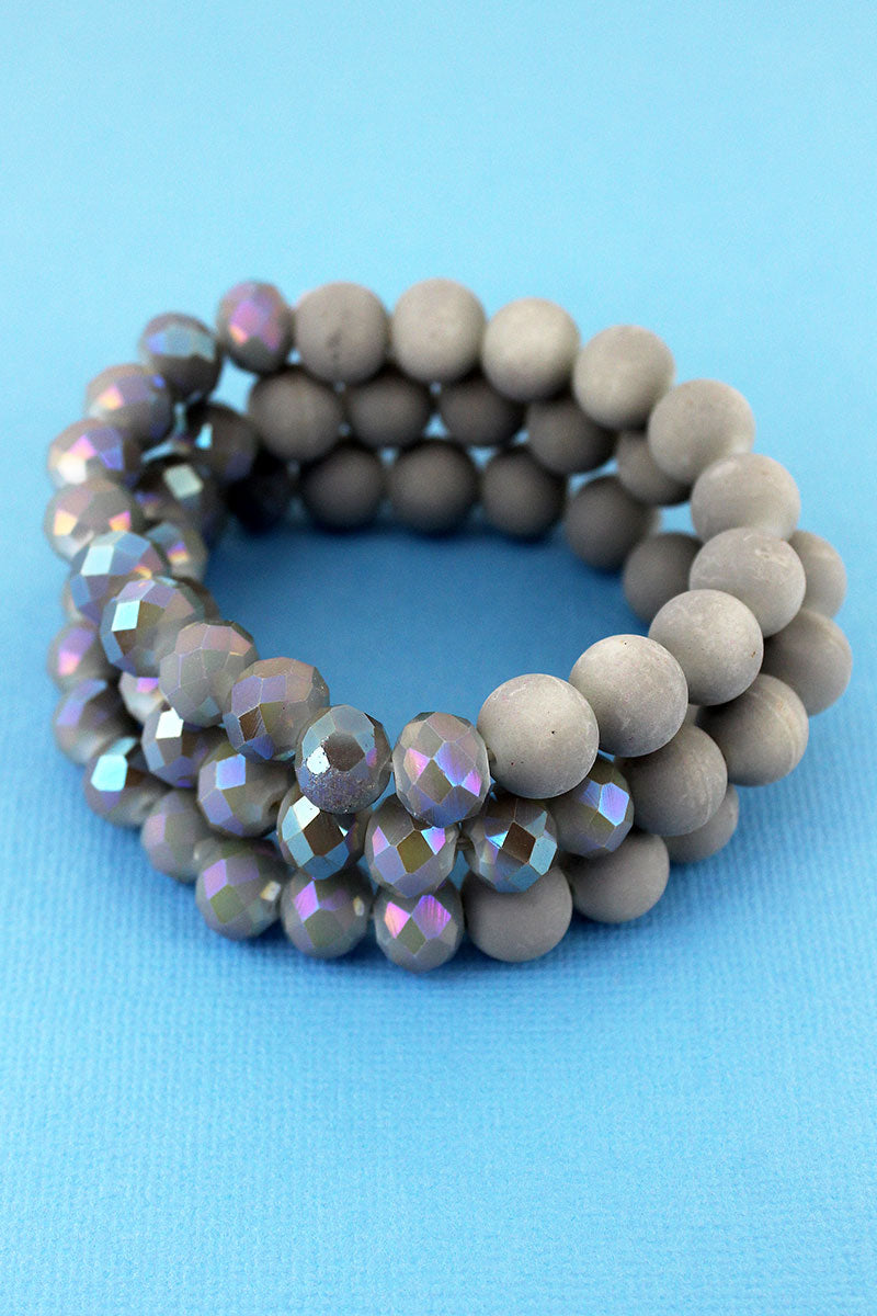 Light Gray Stone and Glass Beaded Bracelet Set
