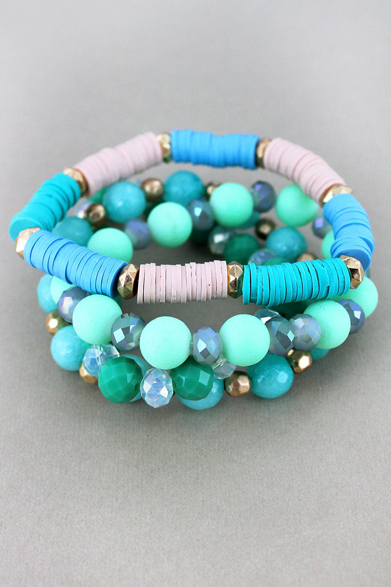 Mint Stone, Faceted, and Vinyl Disk Beaded Bracelet Set