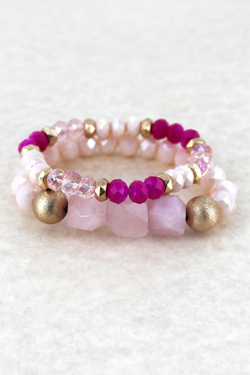 Pink Chunky Stone Beaded Bracelet Set