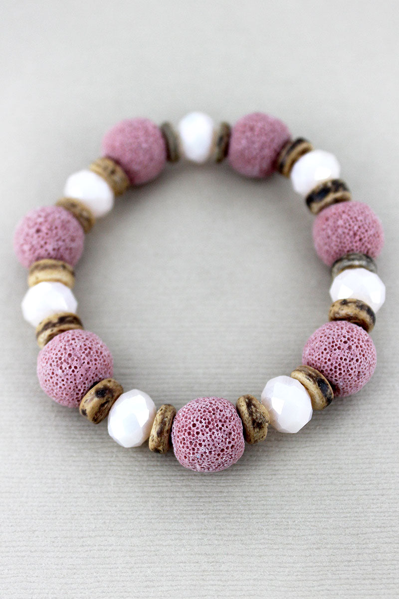 Pink Lava Stone, Glass, and Wood Beaded Stretch Bracelet