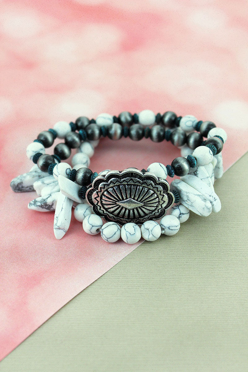 Howlite and Navajo Pearl Beaded Concho Stretch Bracelet Set