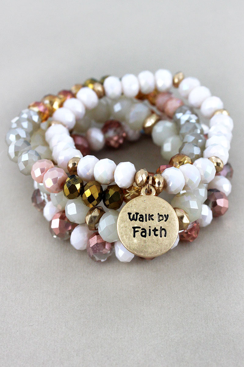 Goldtone 'Walk by Faith' Disk Charm Natural Beaded Bracelet Set
