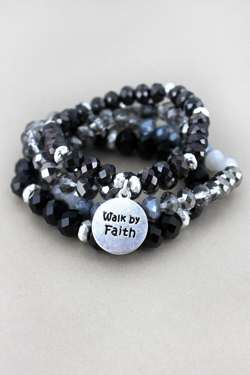 Silvertone 'Walk by Faith' Disk Charm Black Beaded Bracelet Set