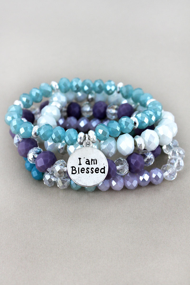 Silvertone 'I am Blessed' Disk Charm Blue and Lavender Beaded Bracelet Set