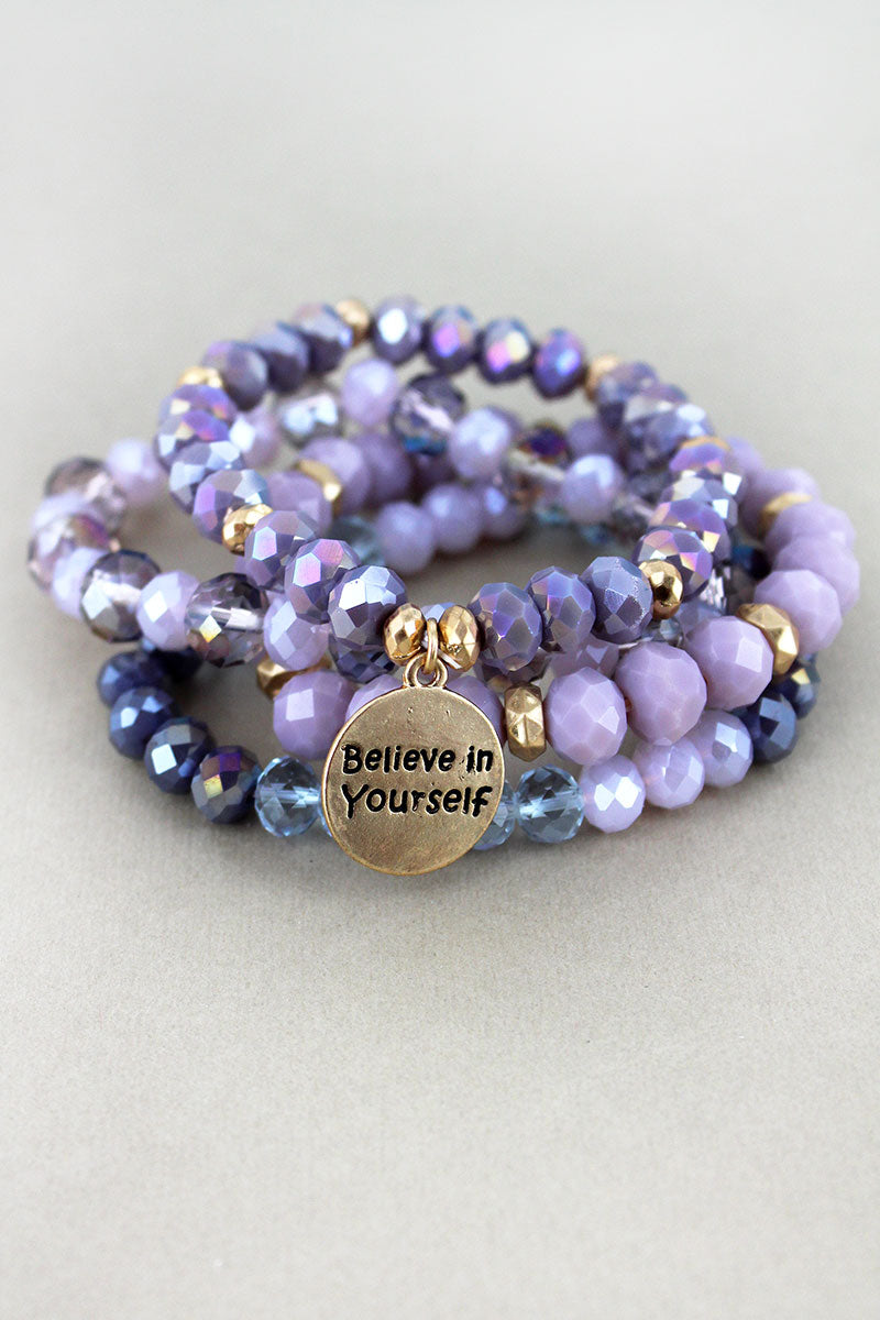 Goldtone 'Believe in Yourself' Disk Charm Lavender Beaded Bracelet Set