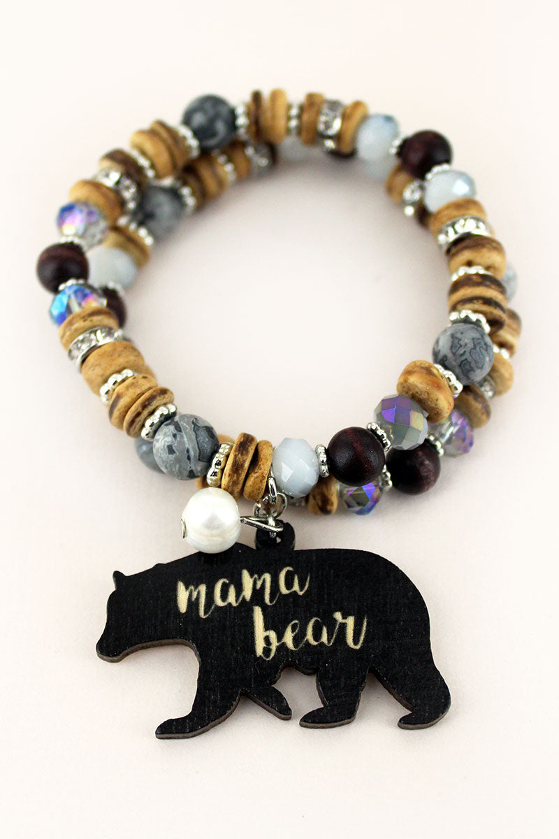 Black Wood 'Mama Bear' Charm Mixed Bead Bracelet Set