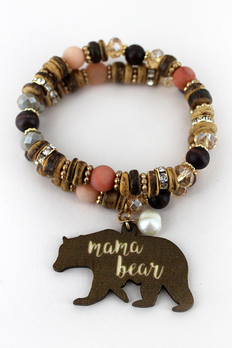 Brown Wood 'Mama Bear' Charm Mixed Bead Bracelet Set