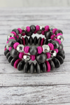 Silver Navajo Pearl, Pink, and Silvertone Beaded Bracelet Set