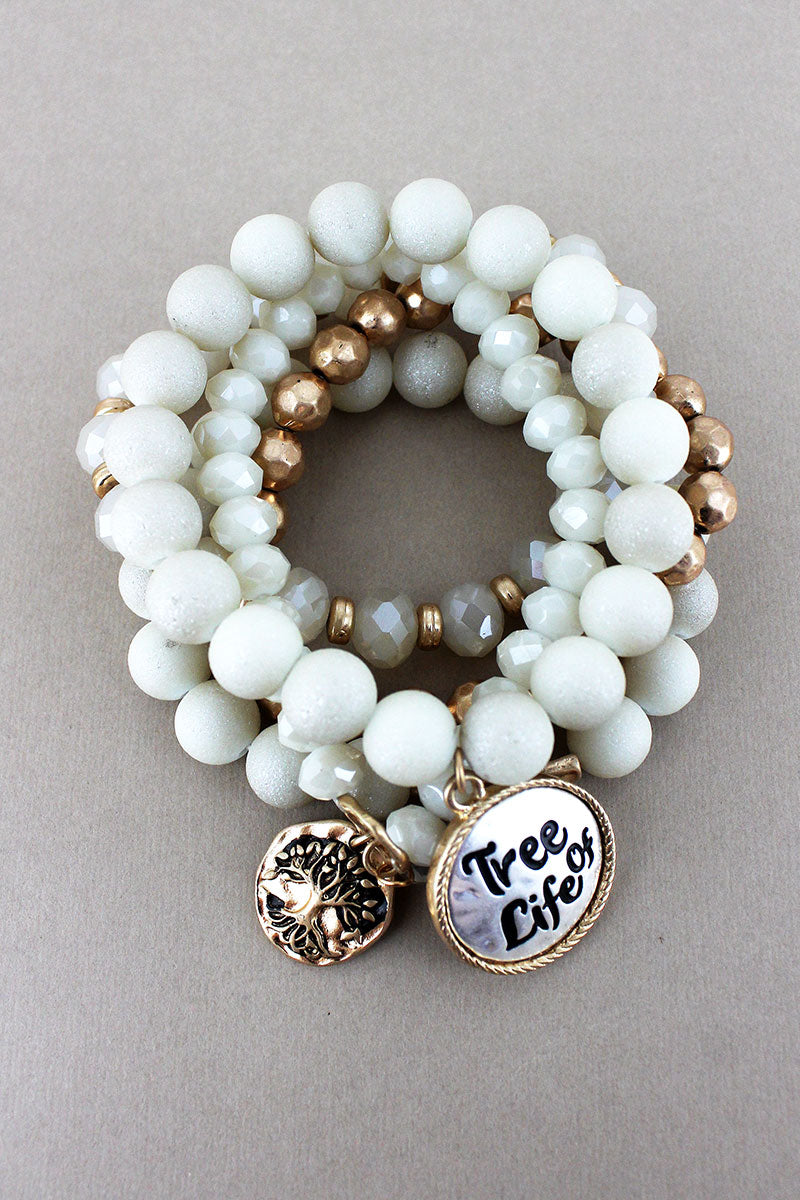 Two-Tone 'Tree Of Life' and Tree Charm Cream Beaded Bracelet Set