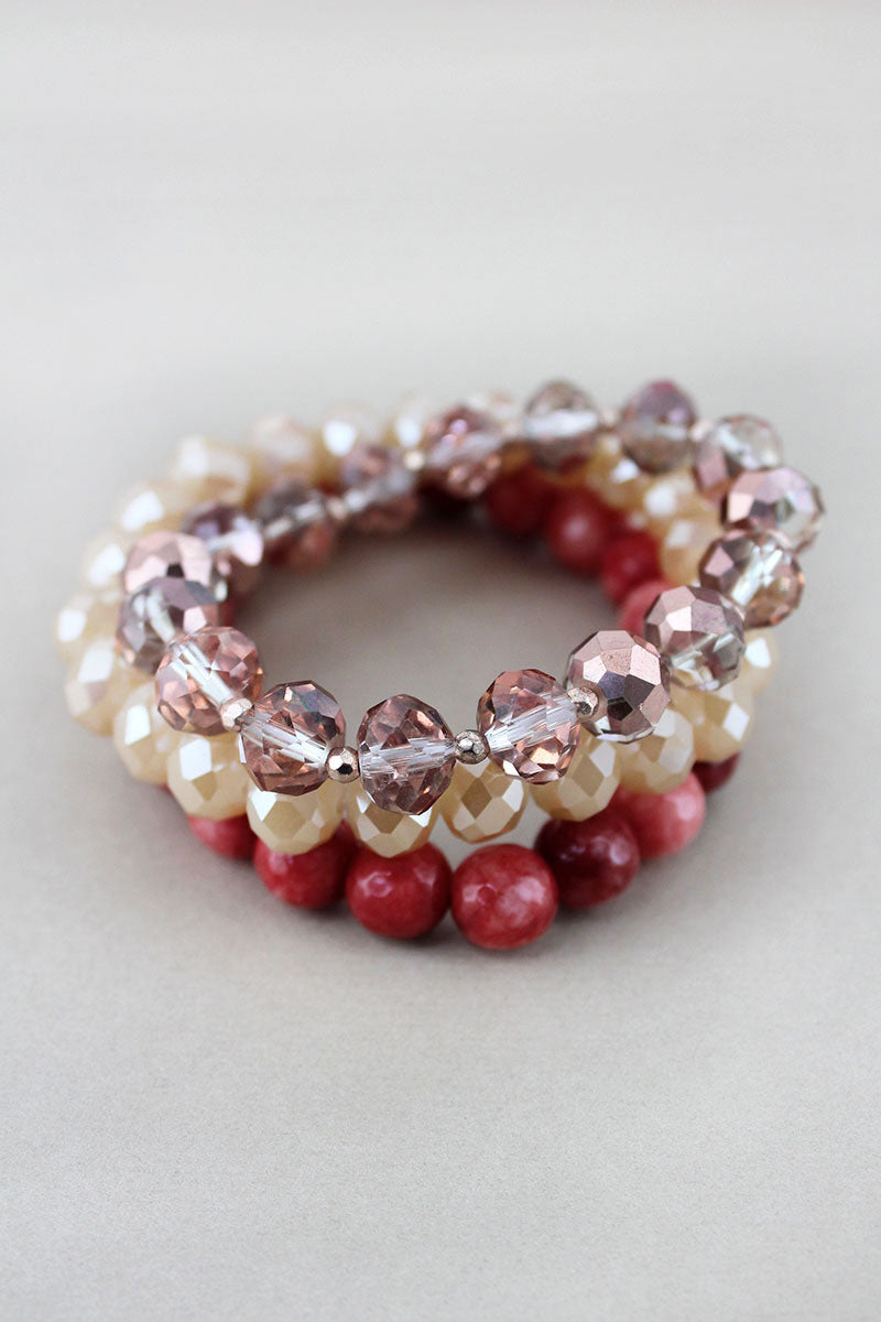 Champagne Faceted and Stone Beaded Bracelet Set