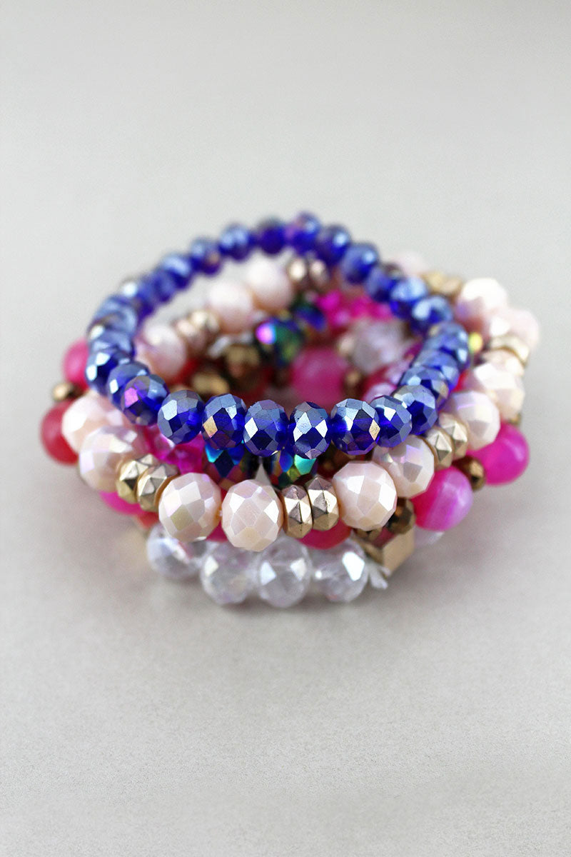 Pink Multi-Color Faceted and Stone Beaded Bracelet Set