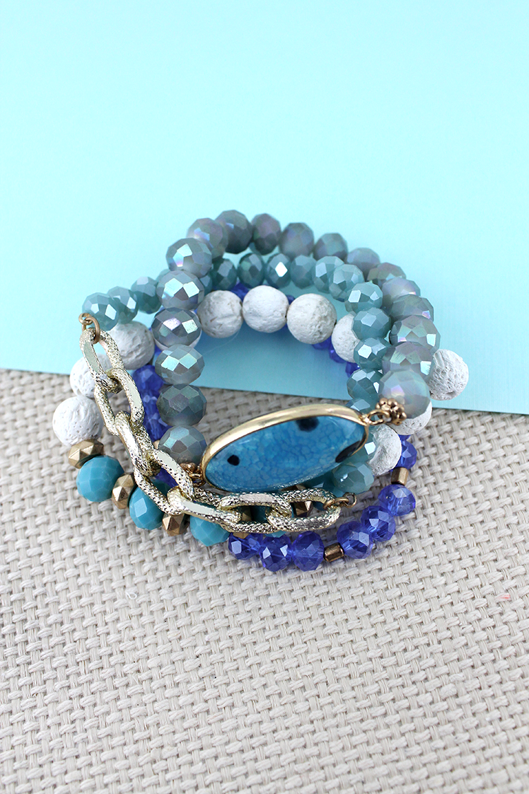 Blue Stone and Goldtone Chain Link Mixed Bead Bracelet Set