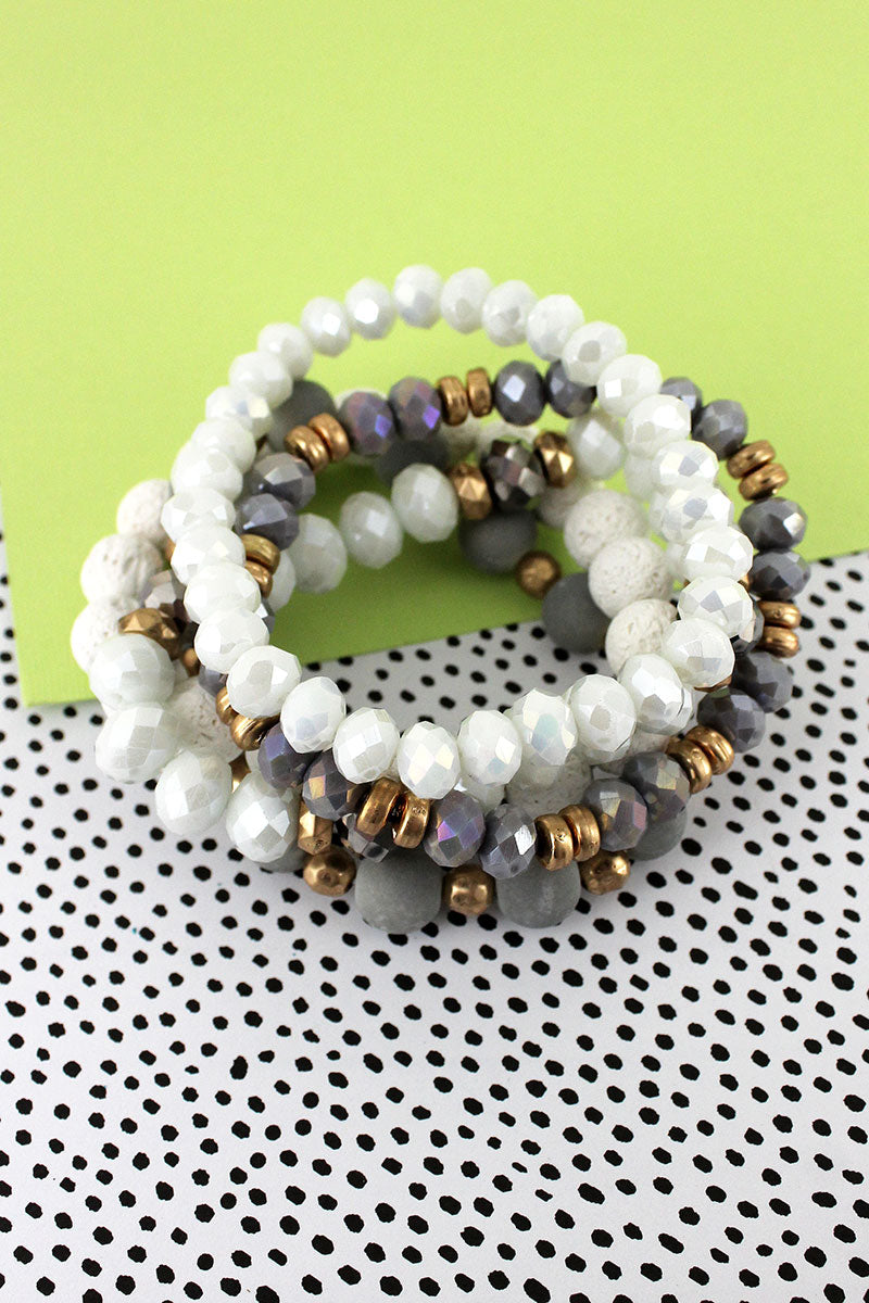 Gray & White Stone and Faceted Bead Bracelet Set