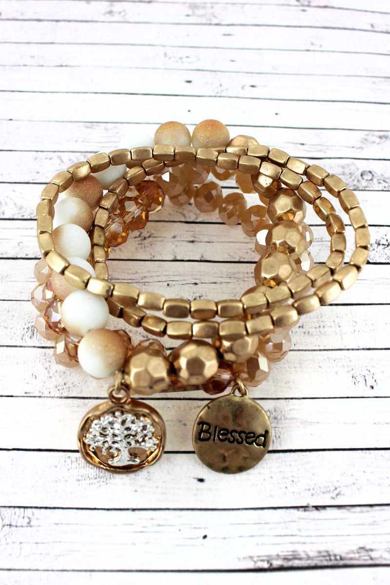 Worn Goldtone 'Believe' and Dove Charm Natural Beaded Bracelet Set