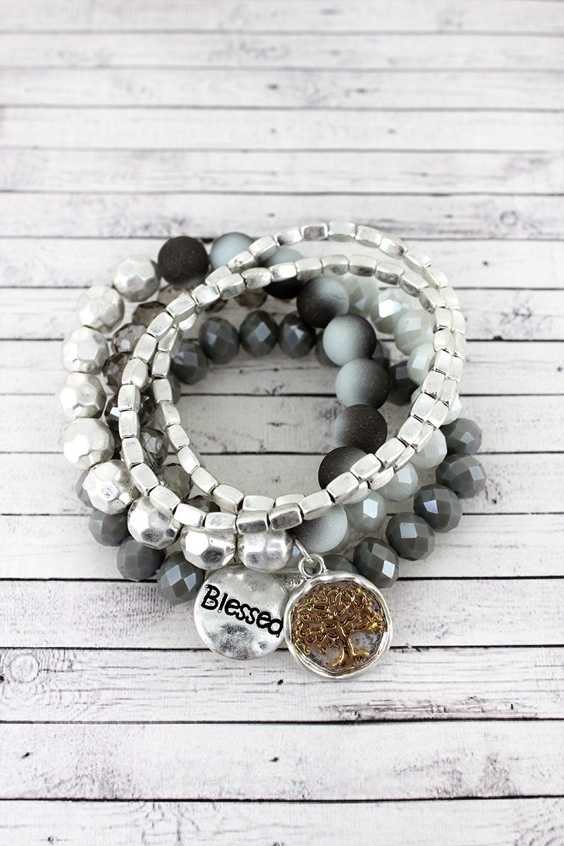Worn Silvertone 'Blessed' and Tree of Life Charm Gray Beaded Bracelet Set
