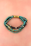 Blue and Two-Tone Beaded Multi-Cord Magnetic Bracelet