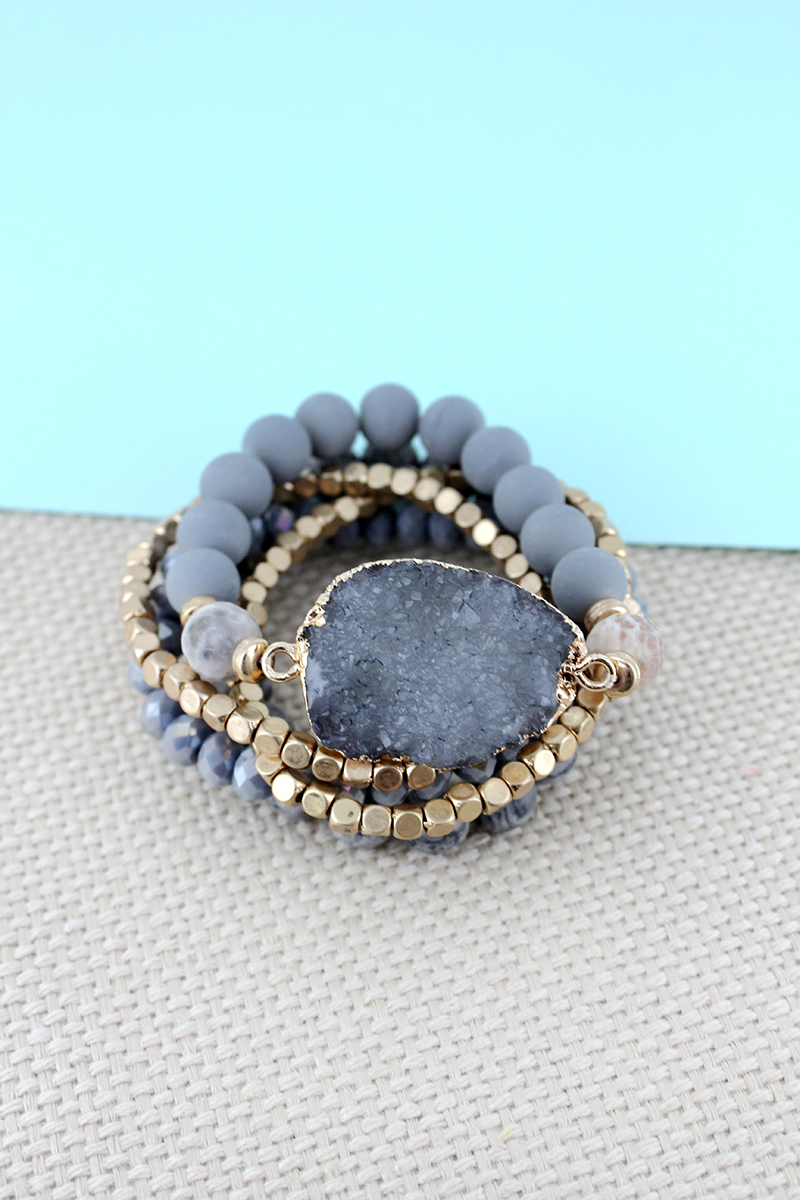 Gray Druzy Stone Mixed Bead Bracelet Set