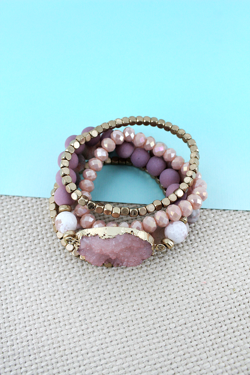 Pink Druzy Stone Mixed Bead Bracelet Set
