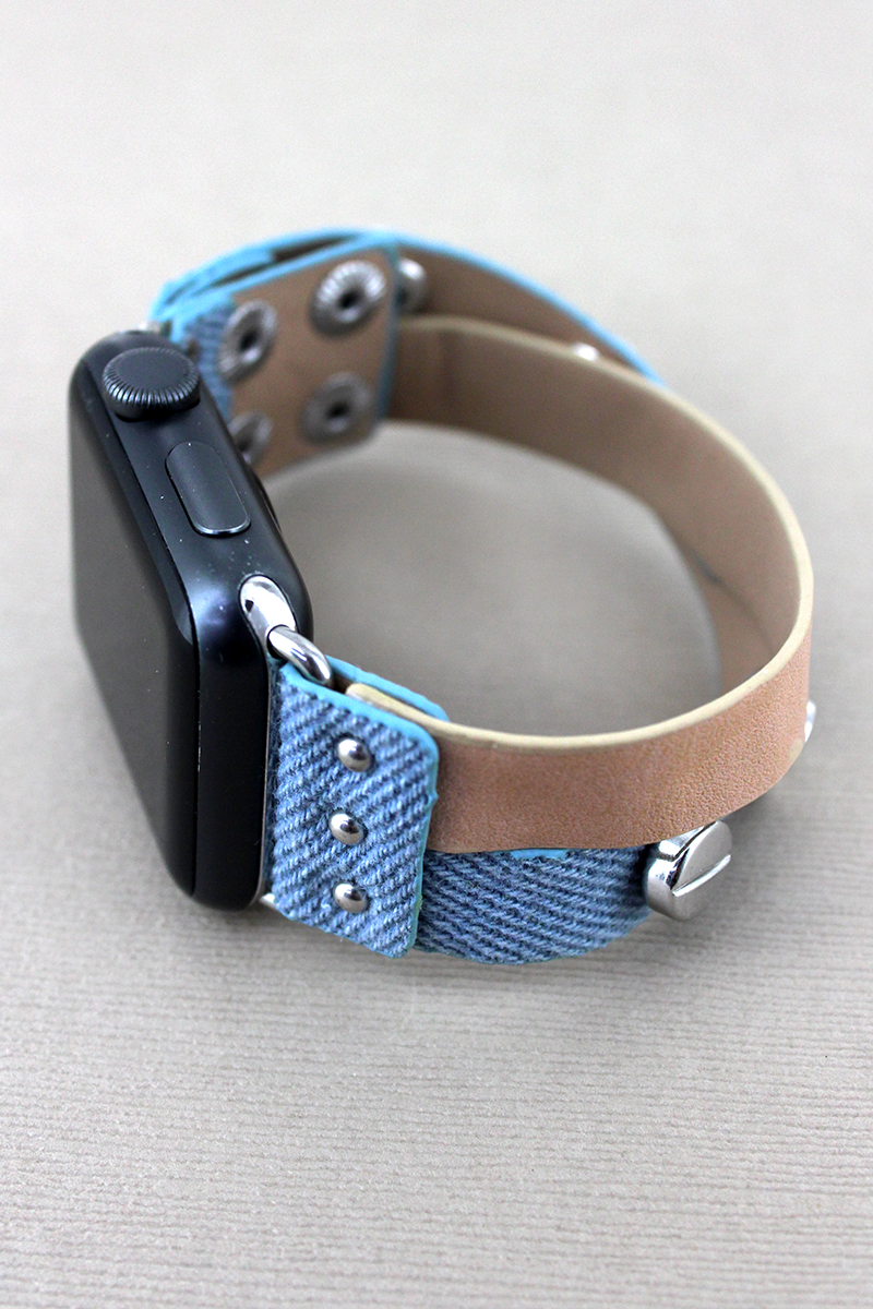 Studded Denim and Beige Leather Criss-Cross Snap Band for Apple Watch