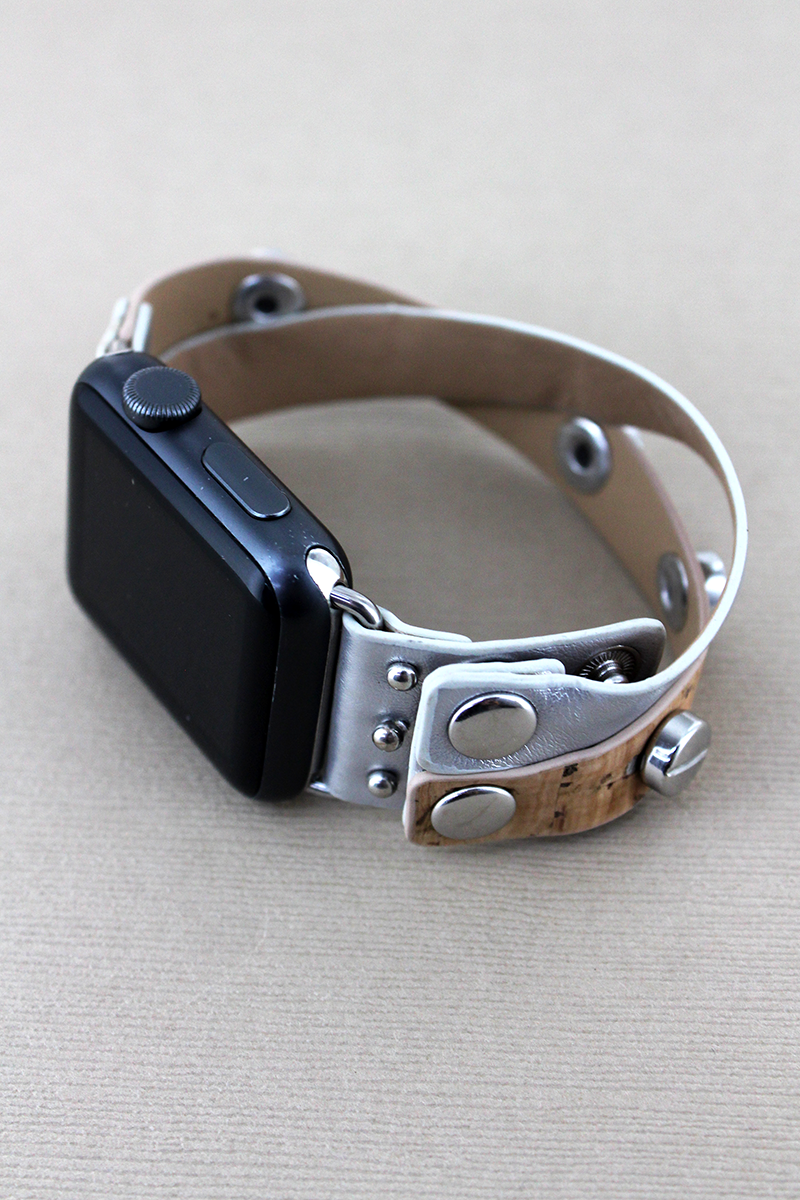 Studded Cork and Silver Leather Criss-Cross Snap Band for Apple Watch