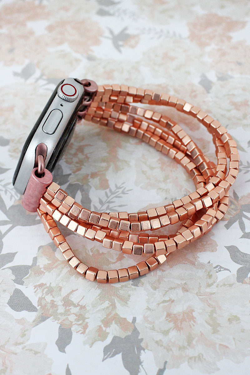 Rose Goldtone Cube Beaded Bracelet Band for Apple Watch