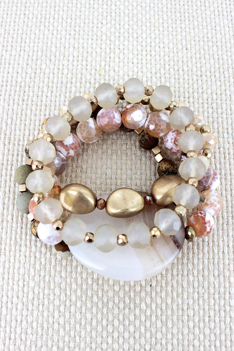 Natural Agate Stone Mixed Bead Bracelet Set