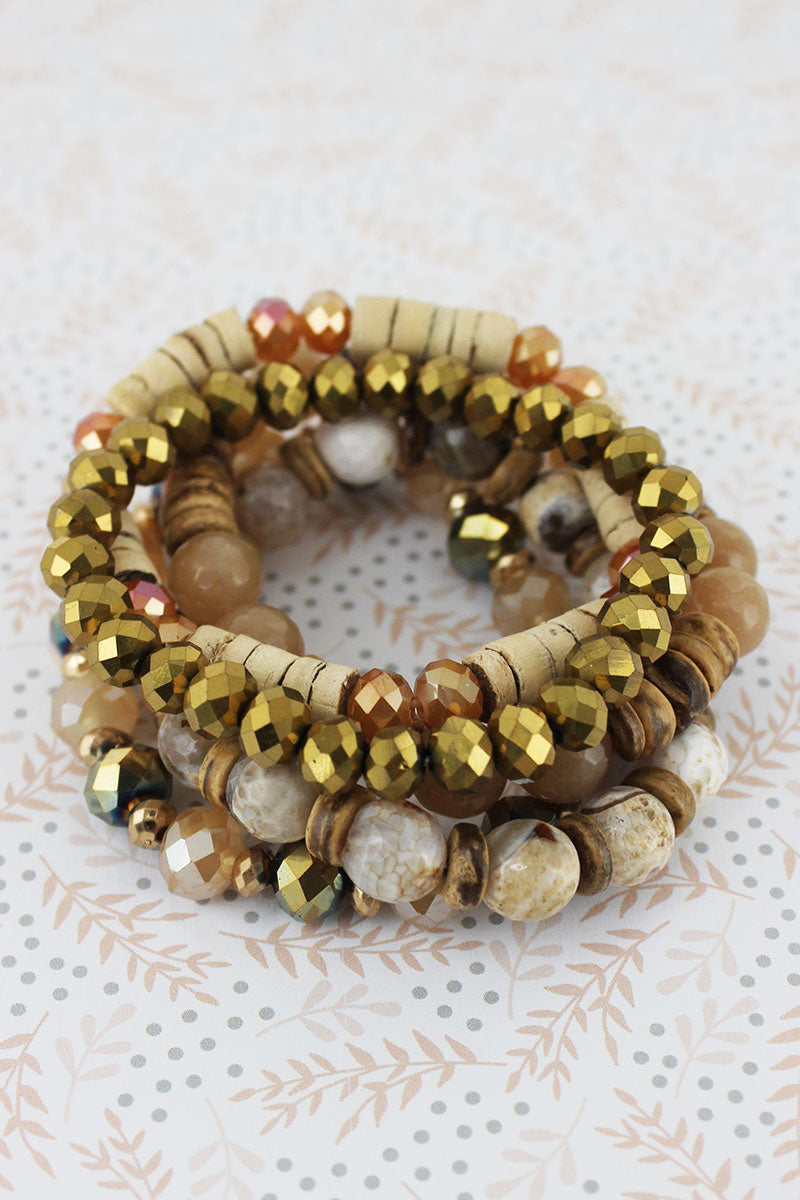 Natural Faceted and Wood Bead Bracelet Set