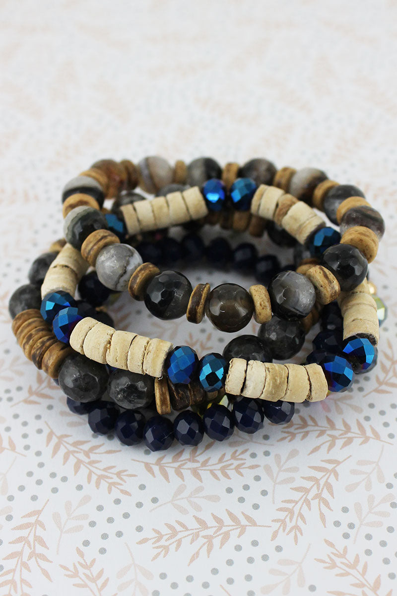 Navy Faceted and Wood Bead Bracelet Set