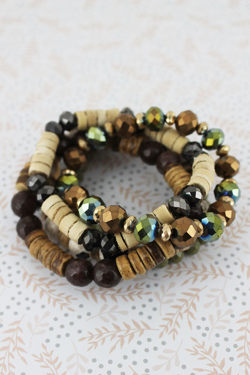 OIive Faceted and Wood Bead Bracelet Set