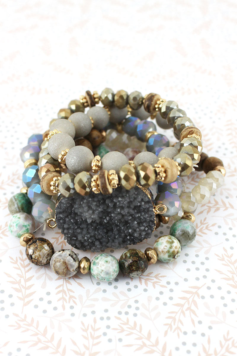 Goldtone Trimmed Green Druzy Mixed Bead Bracelet Set