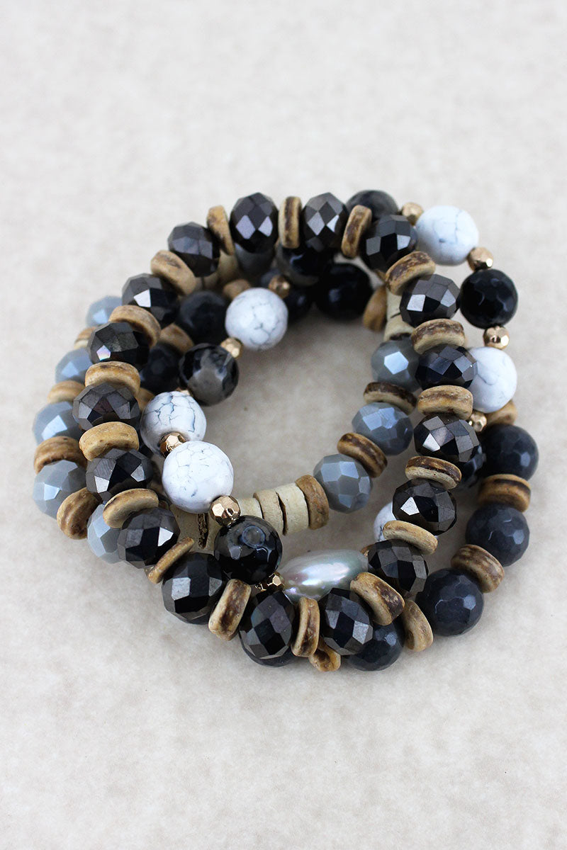 Black Faceted, Wood Disk, and Coin Pearl Beaded Bracelet Set