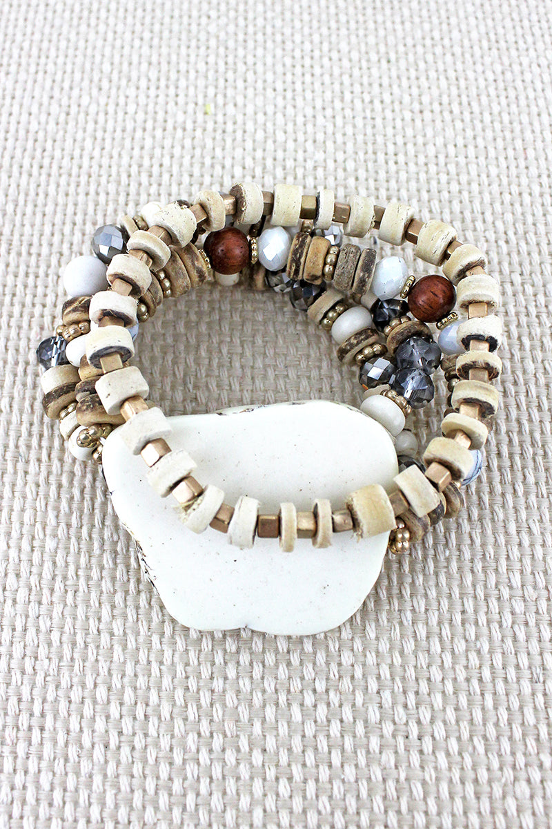 Chunky White Stone Mixed Bead Bracelet Set
