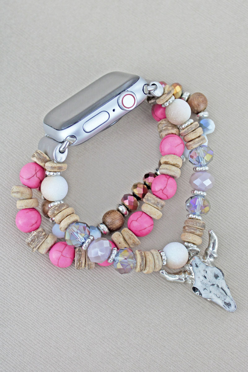 Steer Skull Charm Pink and Wood Beaded Band for Apple Watch