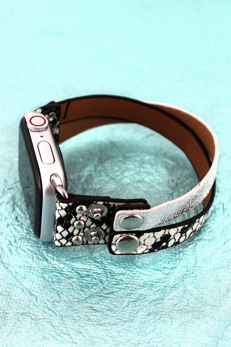 Faux White Snakeskin and Weathered Leather Criss-Cross Snap Band for Apple Watch