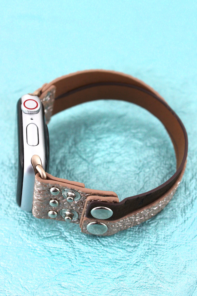 Faux Rose Gold Crinkled Leather and Cork Criss-Cross Snap Band for Apple Watch