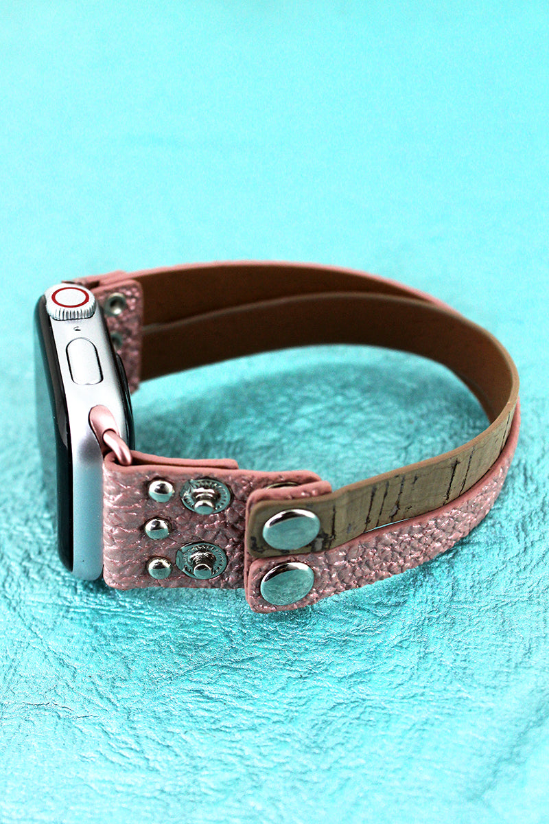 Faux Pink Crinkled Leather and Cork Criss-Cross Snap Band for Apple Watch