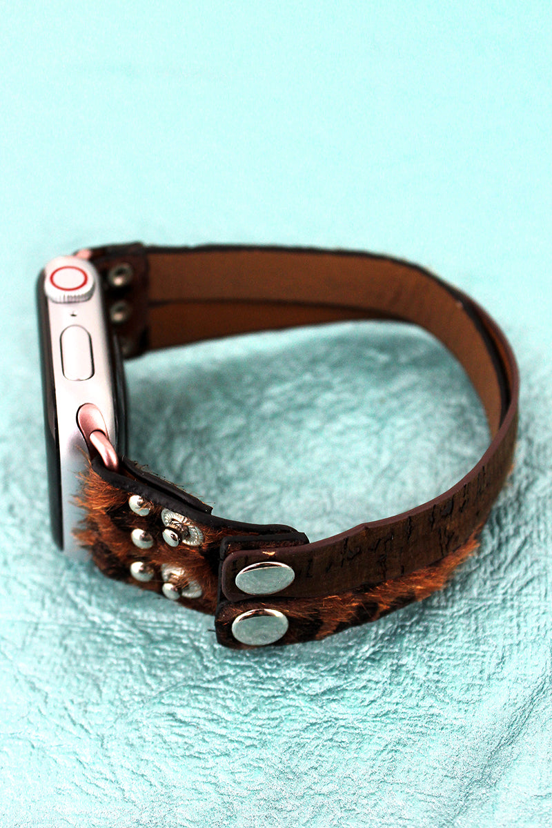 Dark Leopard and Brown Cork Criss-Cross Snap Band for Apple Watch