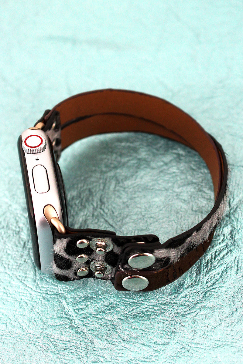 Gray Leopard and Brown Cork Criss-Cross Snap Band for Apple Watch