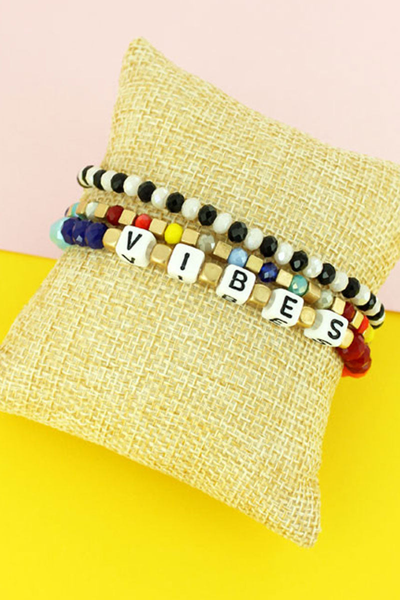 Block Letter 'Vibes' Pearl and Faceted Bead Bracelet Set
