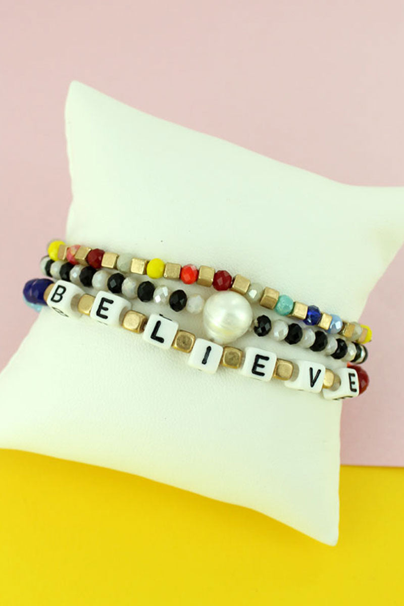 Block Letter 'Believe' Pearl and Faceted Bead Bracelet Set