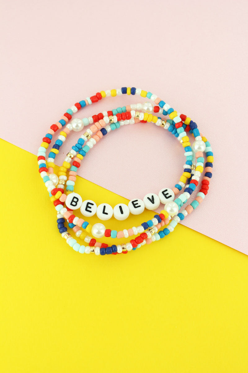 Tiled Letter 'Believe' Rainbow Seed Bead Bracelet Set