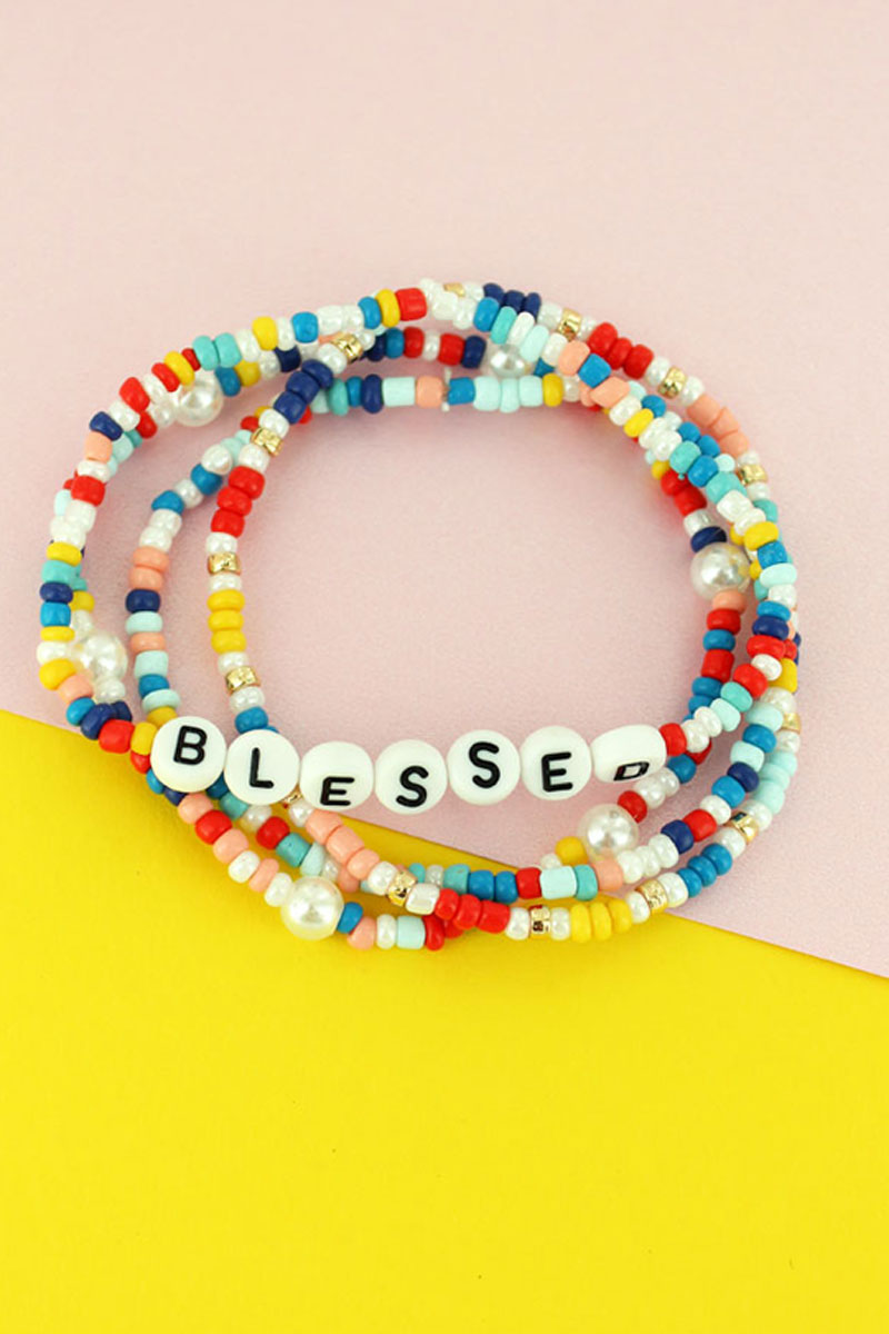 Tiled Letter 'Blessed' Rainbow Seed Bead Bracelet Set