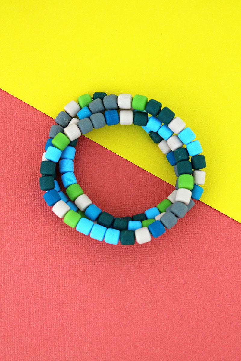 Blue Multi-Color Clay Beaded Bracelet Set