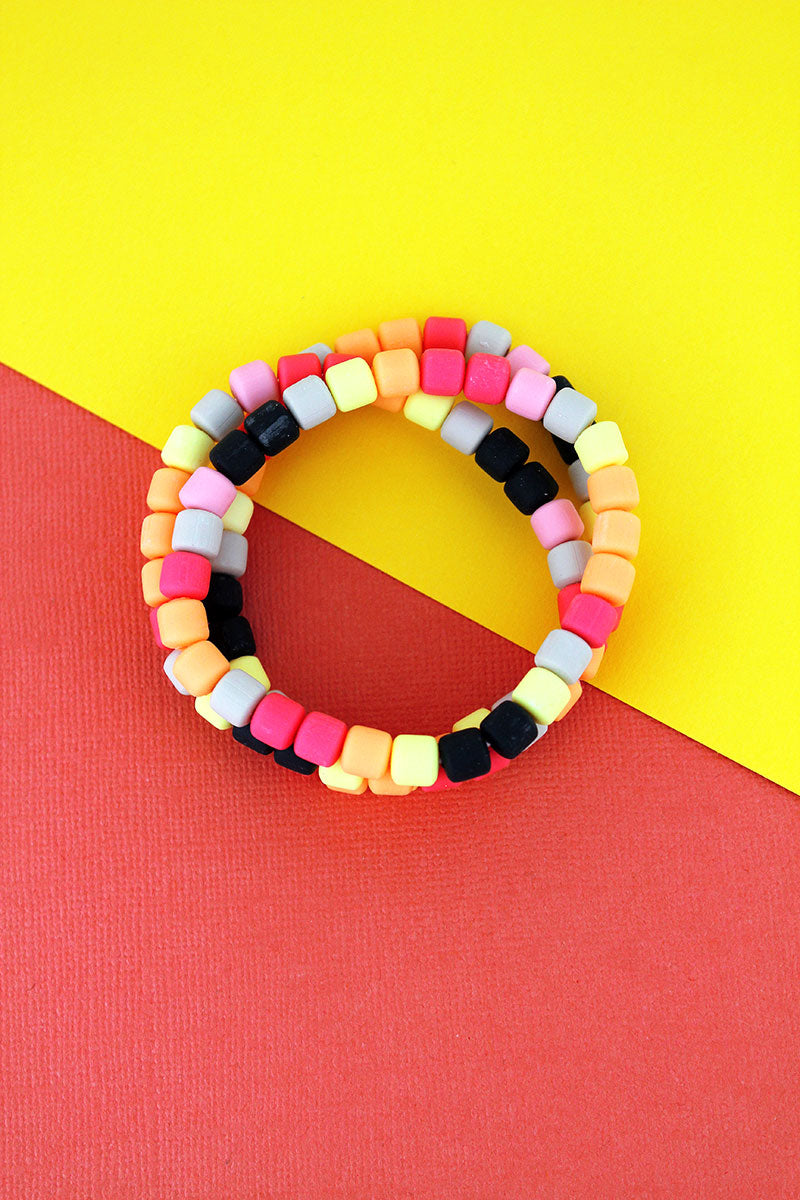 Yellow Multi-Color Clay Beaded Bracelet Set