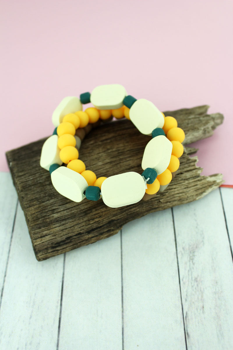 Yellow, Ivory, and Brown Clay and Wood Beaded Bracelet Set