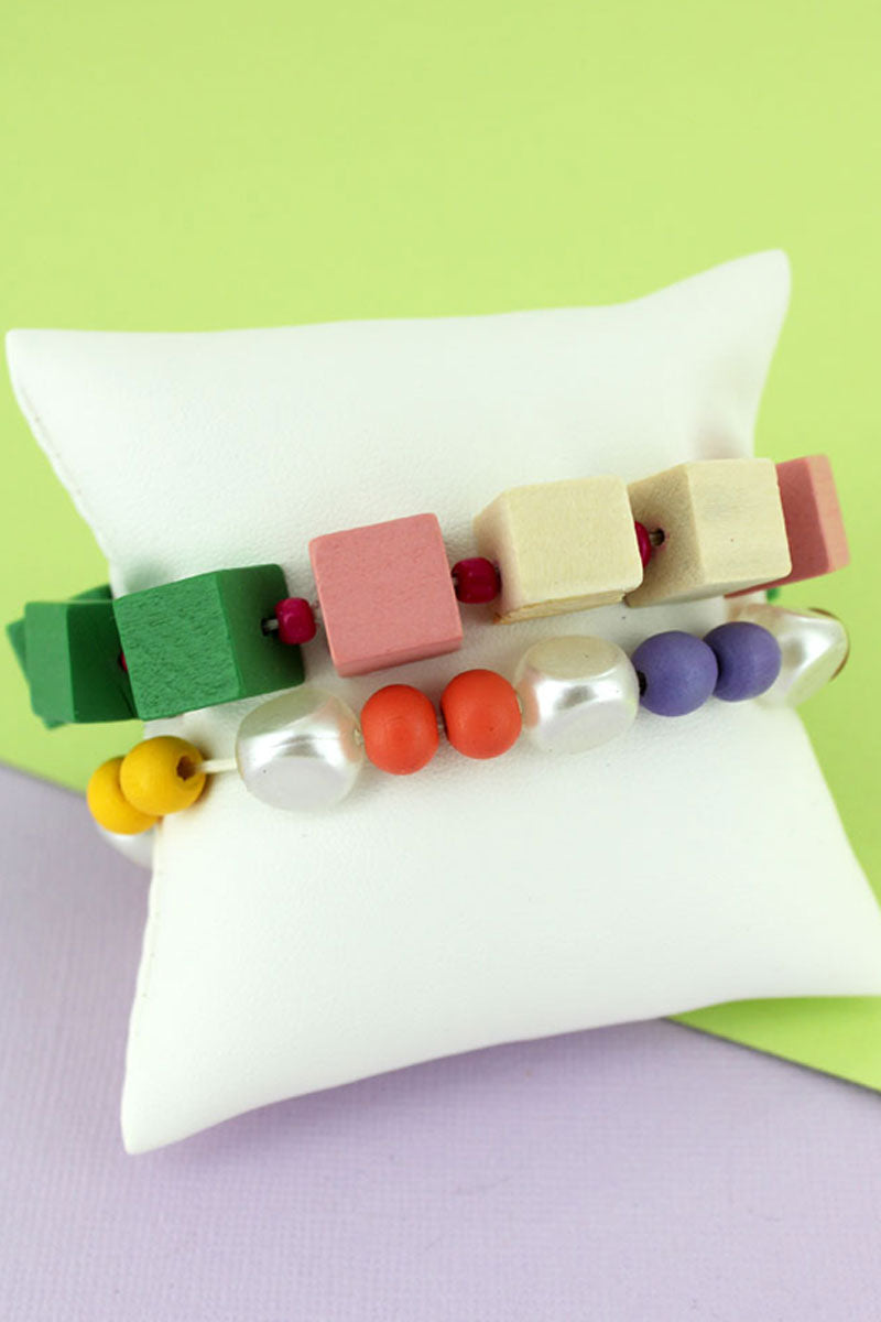 Green Multi-Color Cube and Pearl Bead Bracelet Set